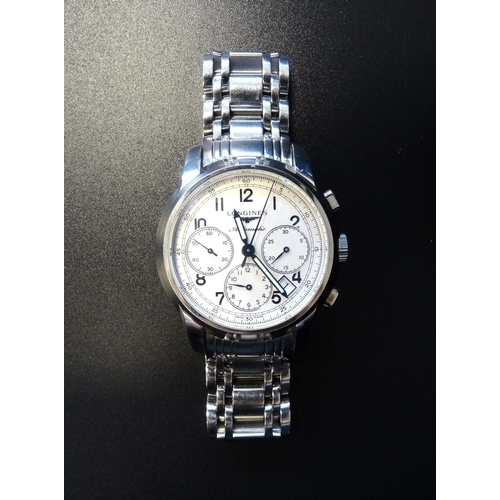 29 - GENTLEMAN'S LONGINES SAINT-IMIER COLLECTION CHRONOGRAPH AUTOMATIC WRISTWATCH the dial with Arabic nu...