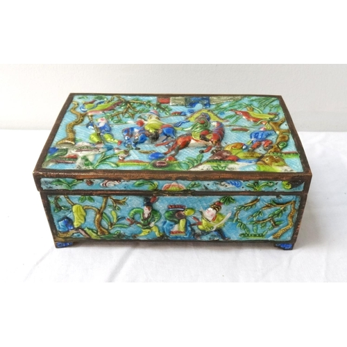261 - CHINESE ENAMEL BOX with a blue ground, the lid decorated with warriors on horseback and on foot, the...
