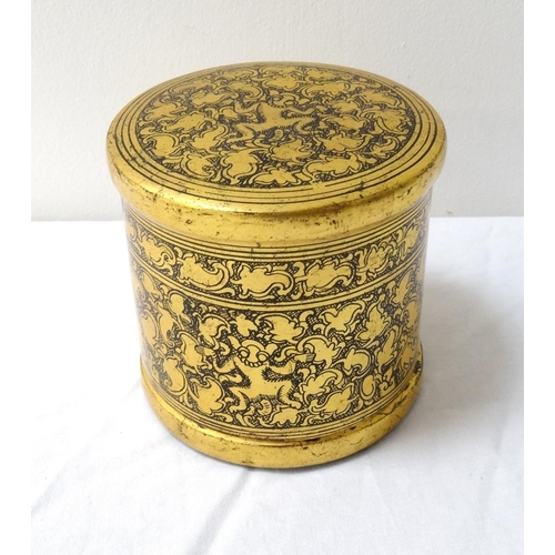 262 - CHINESE LACQUERED TEA CADDY of two section construction with a lift off lid, decorated with gilt flo...