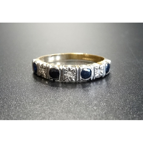 44 - SAPPHIRE AND DIAMOND SEVEN STONE HALF ETERNITY RING with alternating round cut sapphires and illusio...