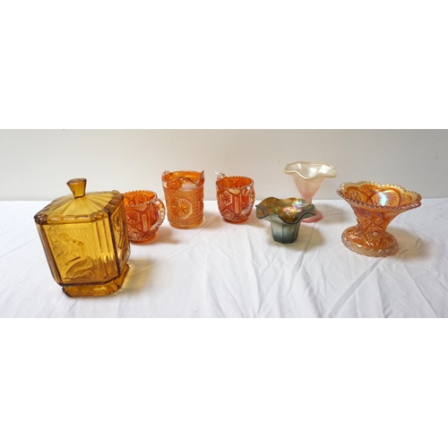 207 - SELECTION OF CARNIVAL AND OTHER GLASS including a pair of orange lustre two handled mugs with matchi...