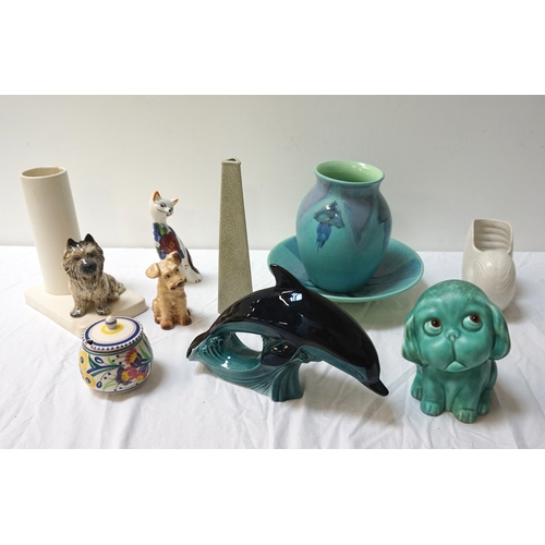 209 - COLLECTION OF DECORATIVE CERAMICS including a Poole pottery vase and matching dish; Poole pottery po...