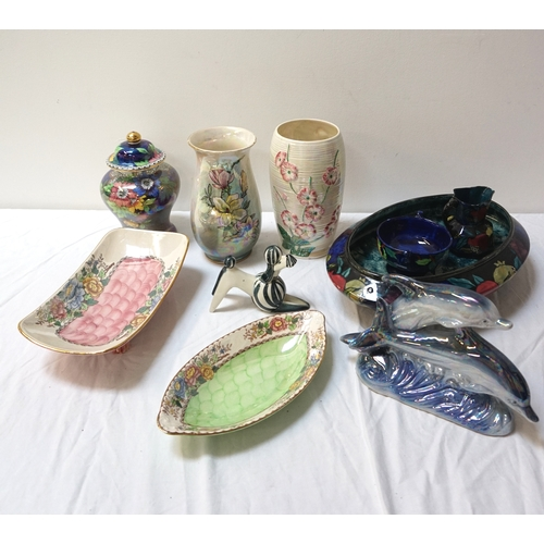 210 - SELECTION OF DECORATIVE CERAMICS including two Maling Peony Rose lustre dishes, a Maling floral deco...