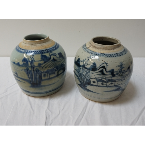 211 - PAIR OF CHINESE GLAZED STONEWARE GINGER JARS with hand painted fishing village decoration, 15.5cm hi...