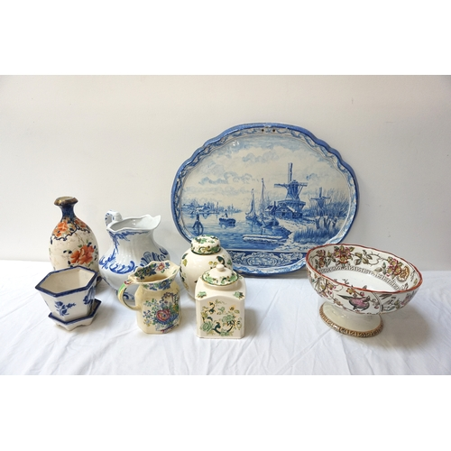 213 - SELECTION OF VICTORIAN AND LATER CERAMICS including a large blue and white Dutch Delft Ware wall pla...