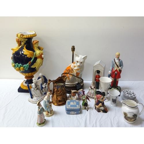 214 - LARGE SELECTION OF VARIOUS CERAMICS including a Majolica vase with figurehead style and swag decorat...