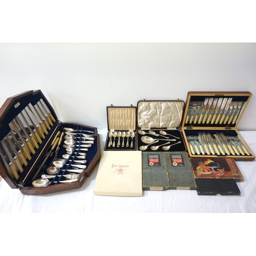 170 - LARGE SELECTION OF SILVER PLATED FLATWARE including an oak cased canteen by Joseph Elliot & Sons, tw...