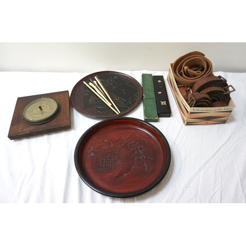 273 - MIXED LOT OF COLLECTABLES including a Schweppes oak cased aneroid barometer, two Japanese circular c...