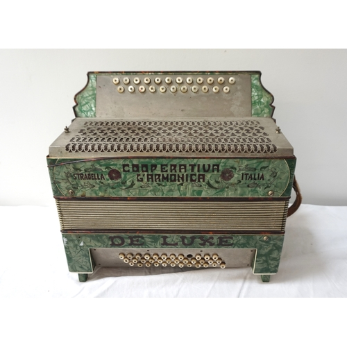 361 - 1930'S ITALIAN COOPERATIVA L'ARMONICA STRADELLA ACCORDION with a green case and leather shoulder str...