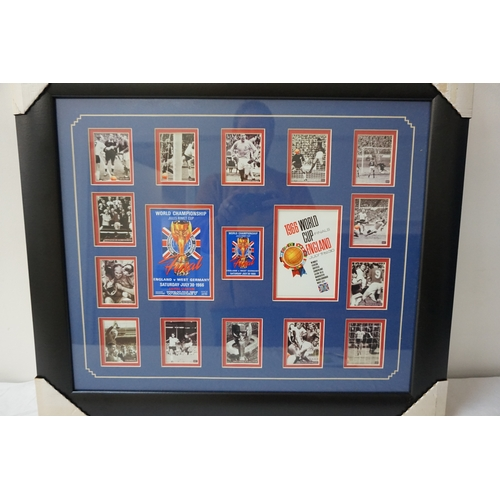 445 - 1966 FOOTBALL WORLD CUP FRAMED COMMEMORATIVE MONTAGE comprising images of the game around facsimile ...