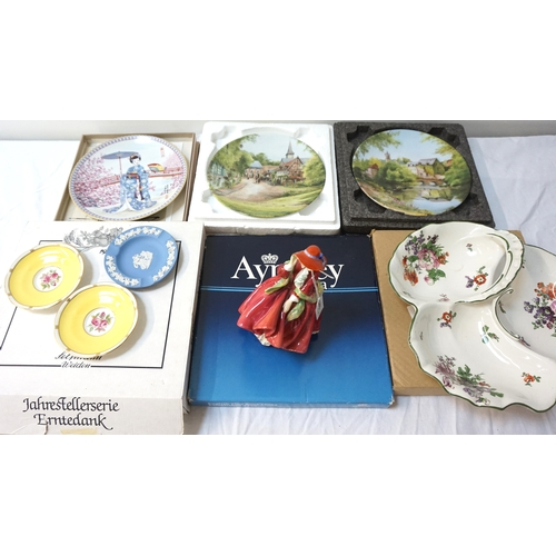 196 - MIXED LOT OF CERAMICS  including a Royal Doulton figurine 'Top o'the hill' HN1834, Wedgwood Jasperwa...