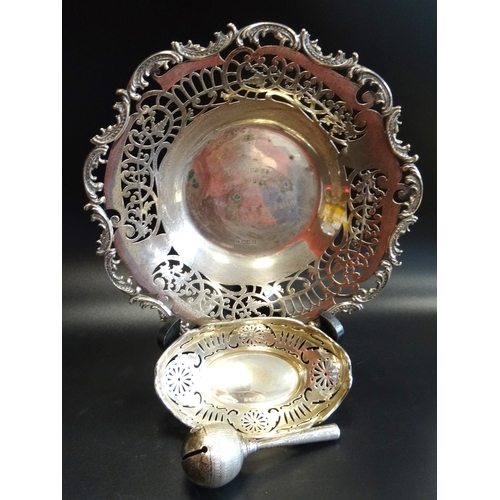 176 - MIXED LOT OF SILVER comprising a pierced and inscribed centre bowl, London 1906, an oval shaped with...