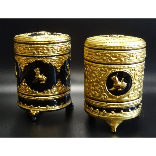 290 - TWO CHINESE LACQUERED CIRCULAR TEA CADDIES of two section construction with lift off lids, decorated...
