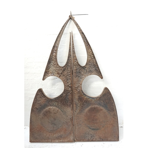 294 - ABSTRACT METAL SCULPTURE formed of two shaped sections to form an arrowhead design, 187cm x 127cm...