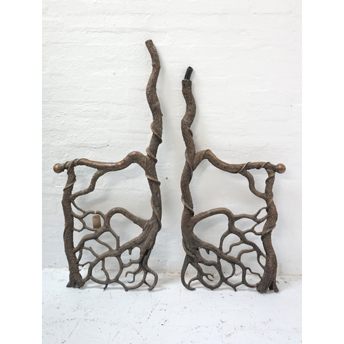 296 - ABSTRACT STEEL SCULPTURE formed of two irregular interconnecting shaped sections to form a tree like...