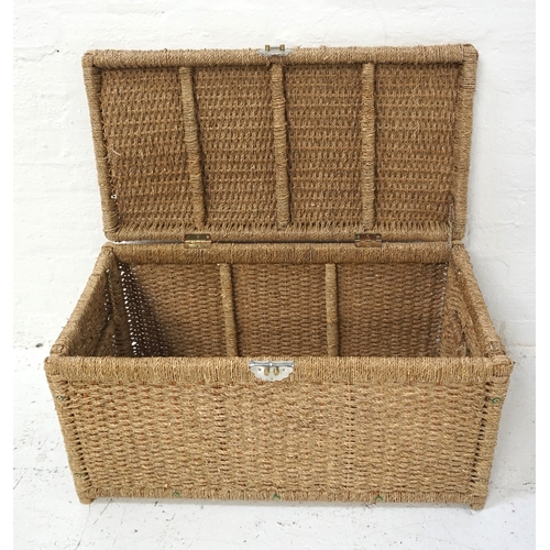 530 - WOVEN ROPE BLANKET BOX with a lift up lid and side carrying handles, 85cm wide - RE-OFFERED IN TIMED...