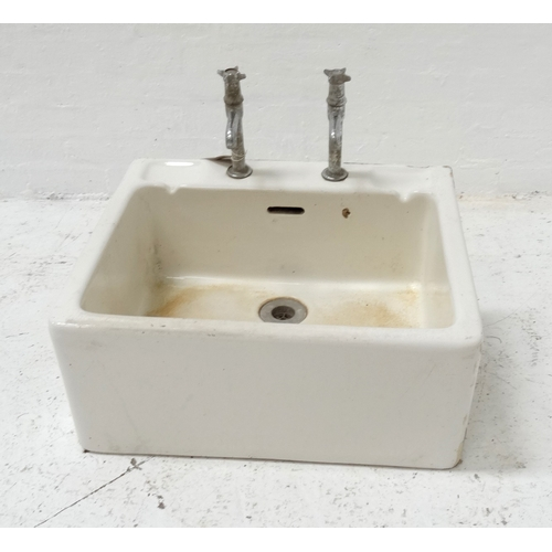 535 - WHITE PORCELAIN BELFAST TYPE SINK with taps, 61cm wide - RE-OFFERED IN TIMED AUCTION...