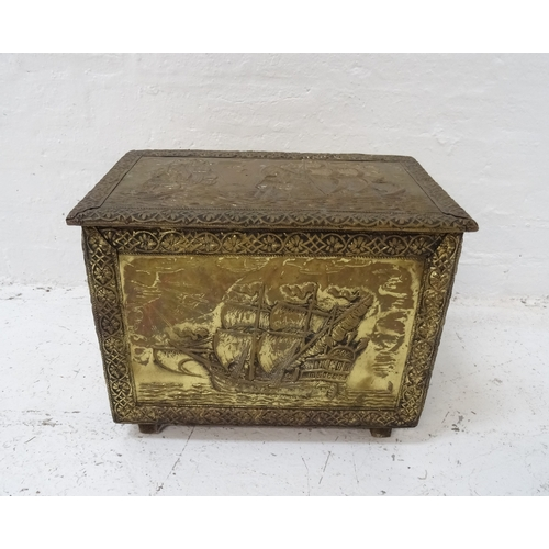 274 - BRASS EMBOSSED COAL BIN decorated with ships, with a removable steel liner, 38.5cm x 50cm x 33cm - R...