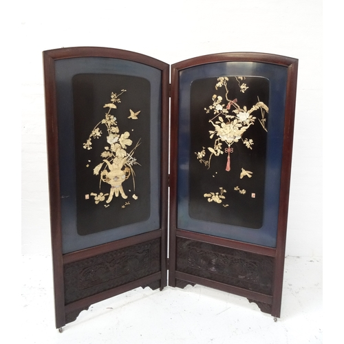 488 - JAPANESE SHIBAYAMA STYLE TWO FOLD SCREEN early 20th century, the arched and lacquered panels with sc...