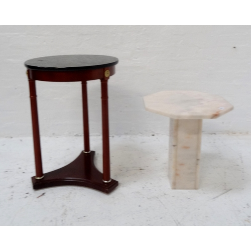 503 - MARBLE OCTAGONAL TOPPED OCCASIONAL TABLE raised on square column and octagonal base, 46cm high; toge...