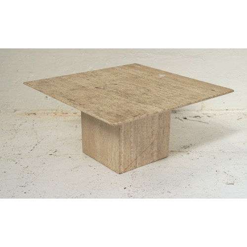 501 - MARBLE STYLE STONE OCCASIONAL TABLE with a square top on a pedestal base, 55cm wide - RE-OFFERED IN ...