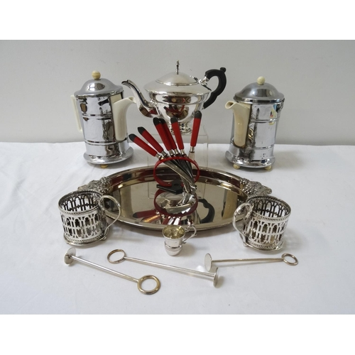 179 - SELECTION OF SILVER PLATE including an oval tray, two pierced glass cup sleeves, squat teapot, two H...