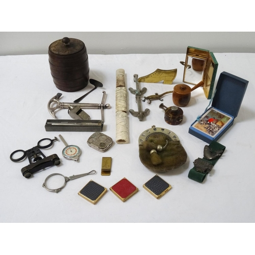 278 - GOOD SELECTION OF VINTAGE COLLECTABLES including a Mauchline ware cotton reel holder in the form of ...