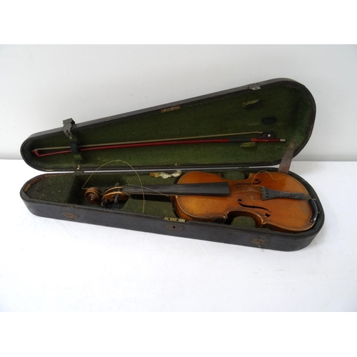 364 - VINTAGE VIOLIN with a two piece 37cm back, together with a bow, contained in a vintage baize lined c...