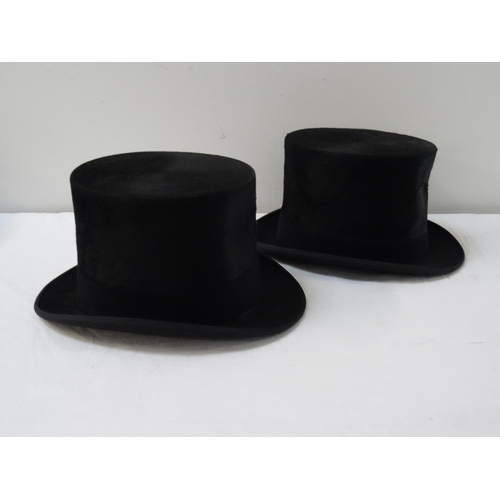 395 - DUNN & CO GENTLEMAN'S TOP HAT marked size 7, and another Dunn & Co. top hat (2)...