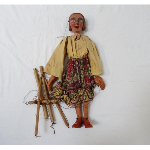 414 - CHILD'S VINTAGE STRING PUPPET modelled as a lady with a carved wooden head and limbs, 48cm high...