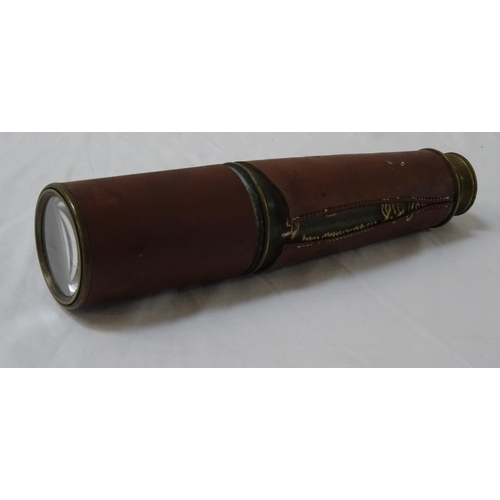 424 - THREE DRAW TELESCOPE with the War Department stamp, with leather covering and side loops, 92cm exten...