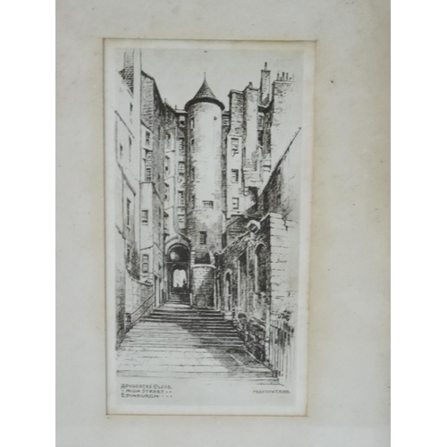 471 - A. SIMES Scottish National War Memorial, Edinburgh, etching, 16cm x 10.3cm and White Horse Close, Ed...