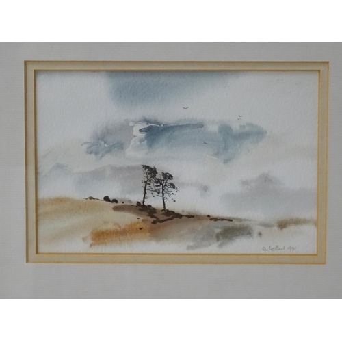472 - KEN LOCHEAD Scots Sentinels, Cairngorms, watercolour, signed and dated 1991, label to verso, 10cm x ...