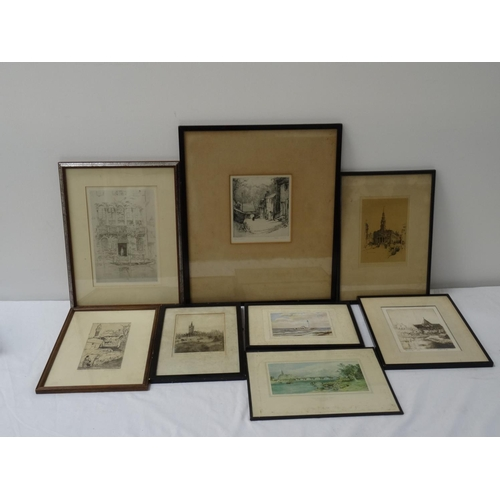 473 - SELECTION OF ETCHINGS by various artists including Dobson, Bates, Hensley and others, with scenes of...