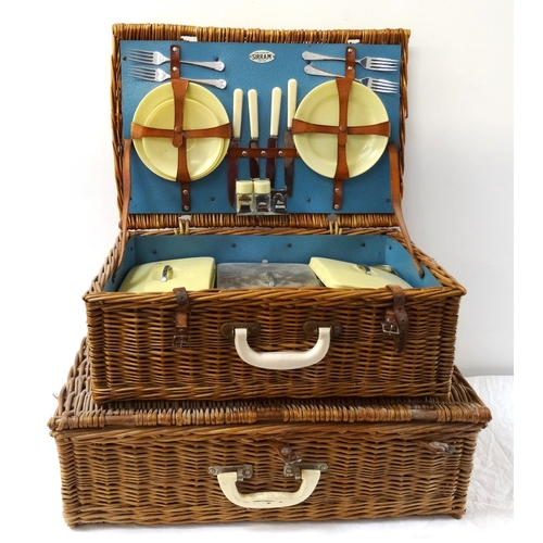 286 - BREXTON WICKER PICNIC HAMPER fitted with plates, cups and saucers, thermos flask, cutlery and food c...