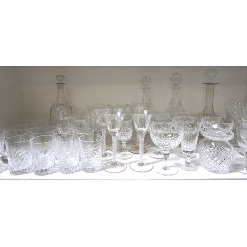 215 - LARGE SELECTION OF CRYSTAL AND OTHER GLASSWARE including decanters, red and white wines, champagne b...