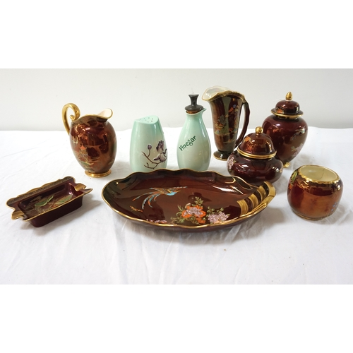 218 - SELECTION OF CARLTON WARE including a Rouge Royale vase, sugar bowl, ash tray, two lidded jars and a...