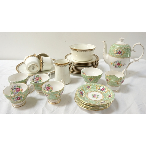 221 - QUEEN ANNE GAINSBOROUGH PATTERN PART TEA SERVICE comprising tea pot, tea cups and saucers, milk jug ...