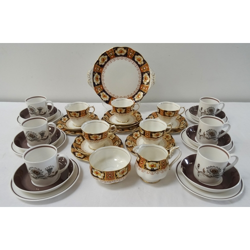 195 - ROYAL ALBERT TEA SERVICE decorated in the Heritage pattern, comprising tea cups and saucers, side an...