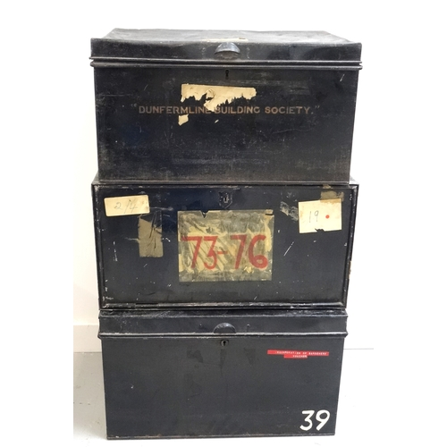 285 - THREE METAL DEED BOXES one marked Dunfermline Building Society with a lift up lid and side carrying ...