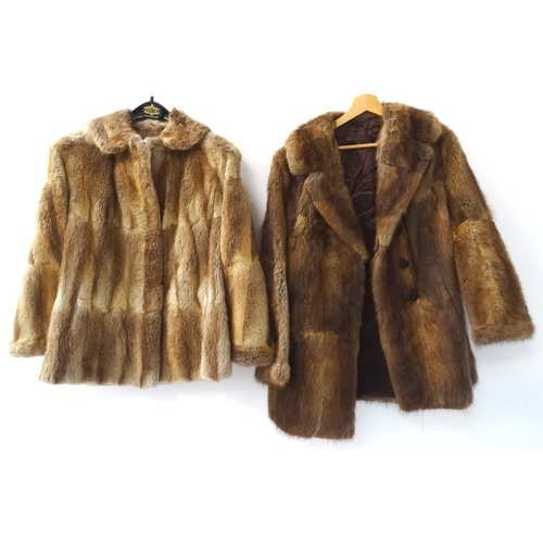 391 - LADIES CONEY FUR JACKET with pockets and a trade label for M & E Edlin Furs of Glasgow, together wit...