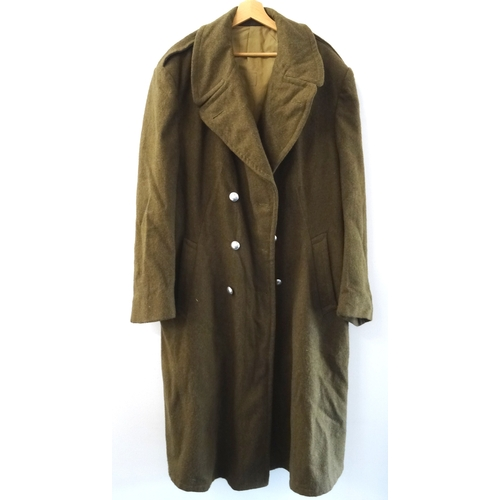 396 - ARMY GREEN WOOL LONG OVERCOAT double breasted with polished steel buttons...