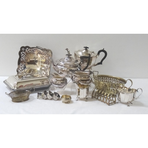 169 - LARGE SELECTION OF SILVER PLATE including a Walker & Hall teapot, milk jug and twin handled sugar bo...