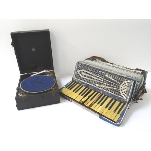 362 - SETTIMIO SOPRANI ACCORDION with a blue cased body, shoulder strap, cased, together with a cased gram...