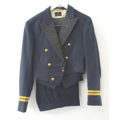 398 - RAF OFFICERS DRESS JACKET with arm braiding and matching trousers, together with an RAF officers dre...