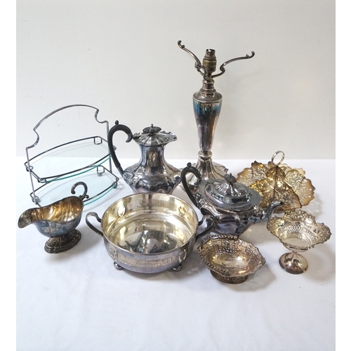 177 - LARGE SELECTION OF SILVER PLATE including a table lamp, tea and coffee pots, galleried tray, serving...