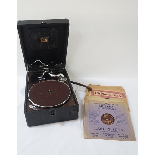 363 - HMV TRAVELLING GRAMOPHONE in a hard shell case with winding handle, together with a large selection ...