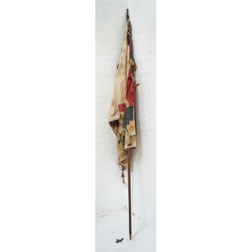 426 - VINTAGE UNION FLAG mounted on an elm staff with metal finial, the cotton and satin flag with wear, 2...