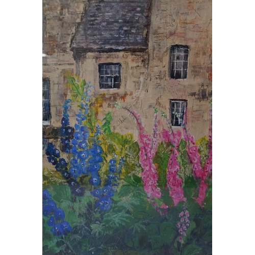 477 - S. CALDWELL Kellie flower border, acrylic on tissue, signed, label ot verso signed and dated 2013, 4...