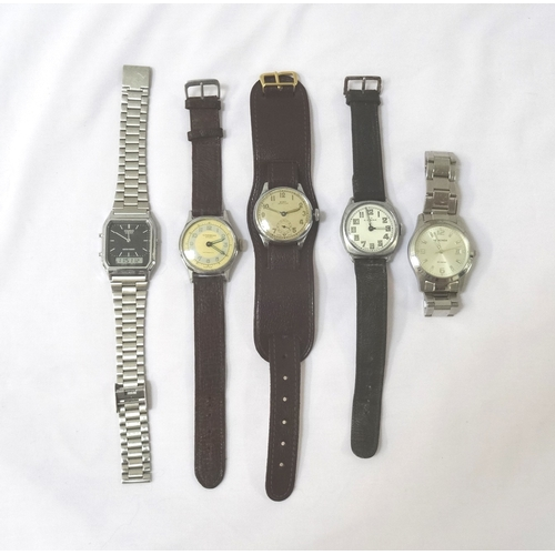 5 - SELECTION OF GENTS WATCHES  including a Sekonda with a date aperture on a steel bracelet, Casio dual...